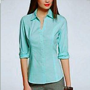Express's original slim fit teal essential shirt.